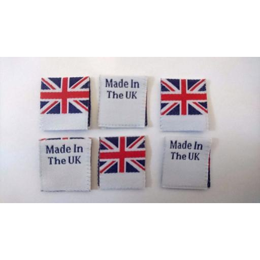 Made In The UK, Labels, Made in England, Labels With Union jack Flag, Woven Tag